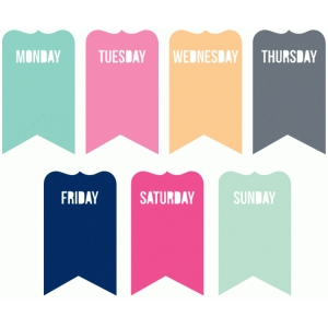 days of the week fancy banners set