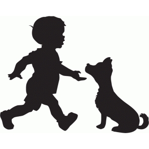 boy with dog silhouette