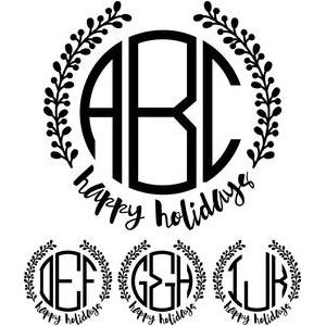 monogram basic - happy holidays wreath