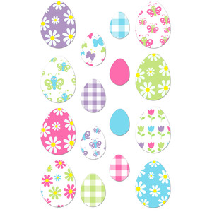 butterflies and flowers egg set