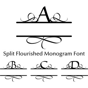 split flourished monogram font