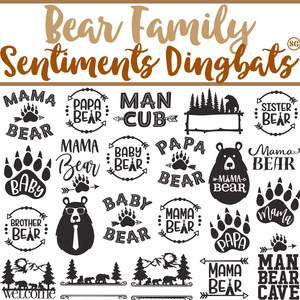 sg bear family sentiments dingbats
