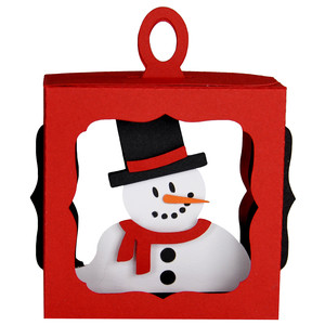 snowman hanging box ornament