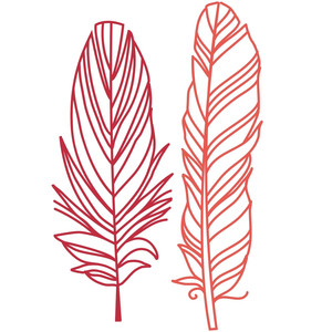 two papercut feathers