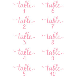 wedding table numbers 1-10