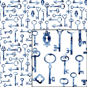 keys watercolor seamless pattern