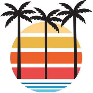 palm tree sunset logo