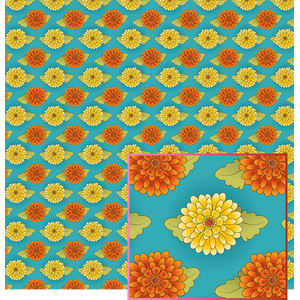 orange and yellow fall flowers pattern
