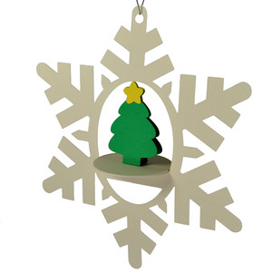 little christmas tree snowflake 3d oval hanging ornament