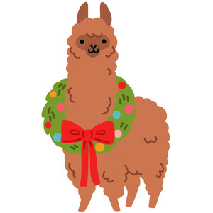 alpaca with wreath