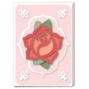 rose stencil style medallion card