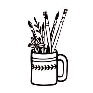brushes in a mug