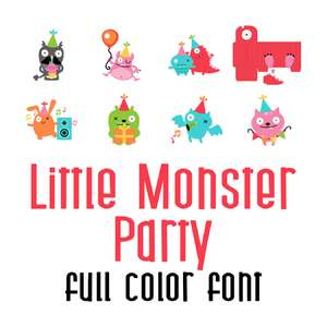 little monster party full color font