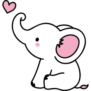 baby elephant with heart