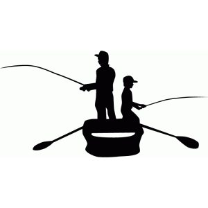 father & son fishing silhouette
