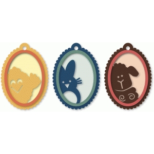 easter oval three piece tags