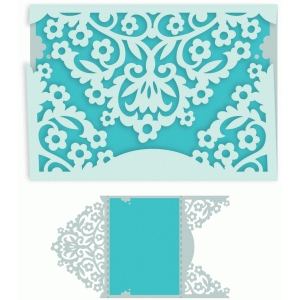 ornate garden floral trifold card with liner