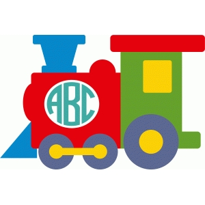 cute train monogram