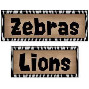 zoo labels set - zebras & lions