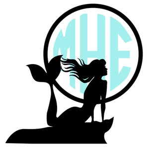 mermaid moon monogram frame