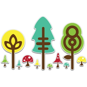 cute trees & mushrooms p/c