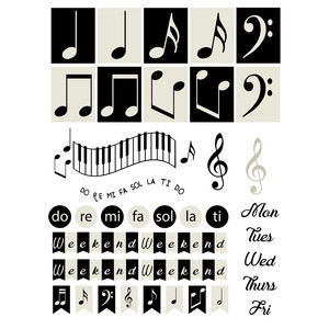 music-themed planner stickers