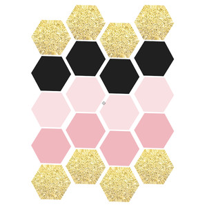 pink & gold hexagon labels