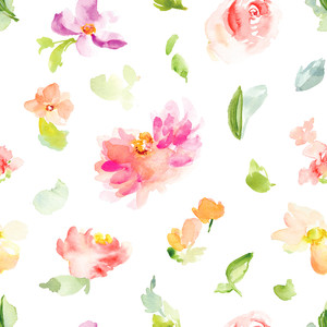 watercolor flower spring pattern