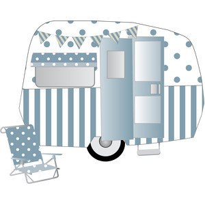 blue camper trailer