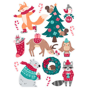 winter woodland animal christmas stickers