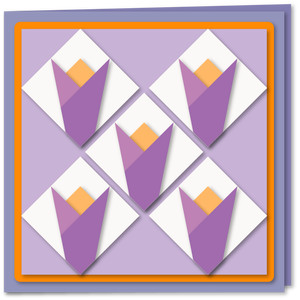 crocus five patch quilt 6x6 card