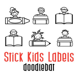 stick kid labels doodlebat