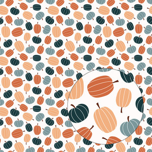 orange & blue pumpkins seamless pattern