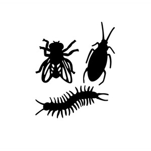 halloween bug silhouettes (centipede, fly, bug)