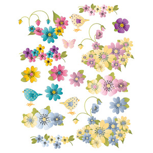 mixed color floral planner stickers