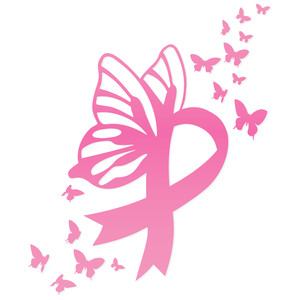 breast cancer butterfly ribbon