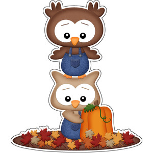 autumn stacked owls sticker
