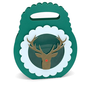 christmas reindeer circle scallop box
