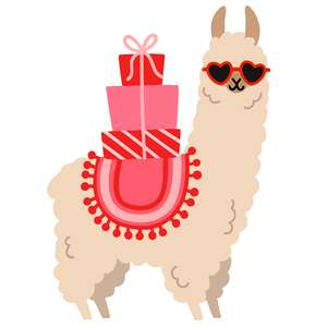 llama with heart glasses