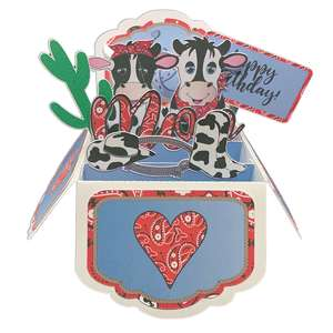 5x7 cow popup card in a box