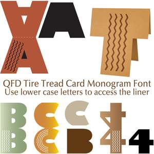 qfd tire tread card monogram font