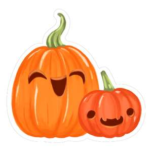 kawaii pumpkins with smiley face and fangs