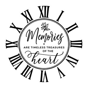 memories are timeless treasures of the heart clock face