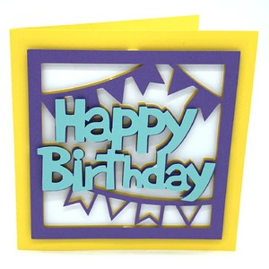 happy birthday and flags card