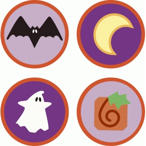 halloween icon circle tiles