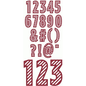 candy can diagonal stripe numbers punctuation