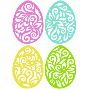 4 flourish easter eggs