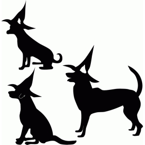 dogs in witch hats