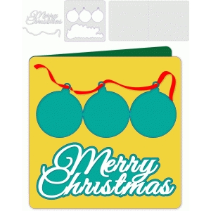 three ornaments folded christmas card