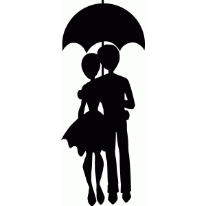 couple strolling with umbrella